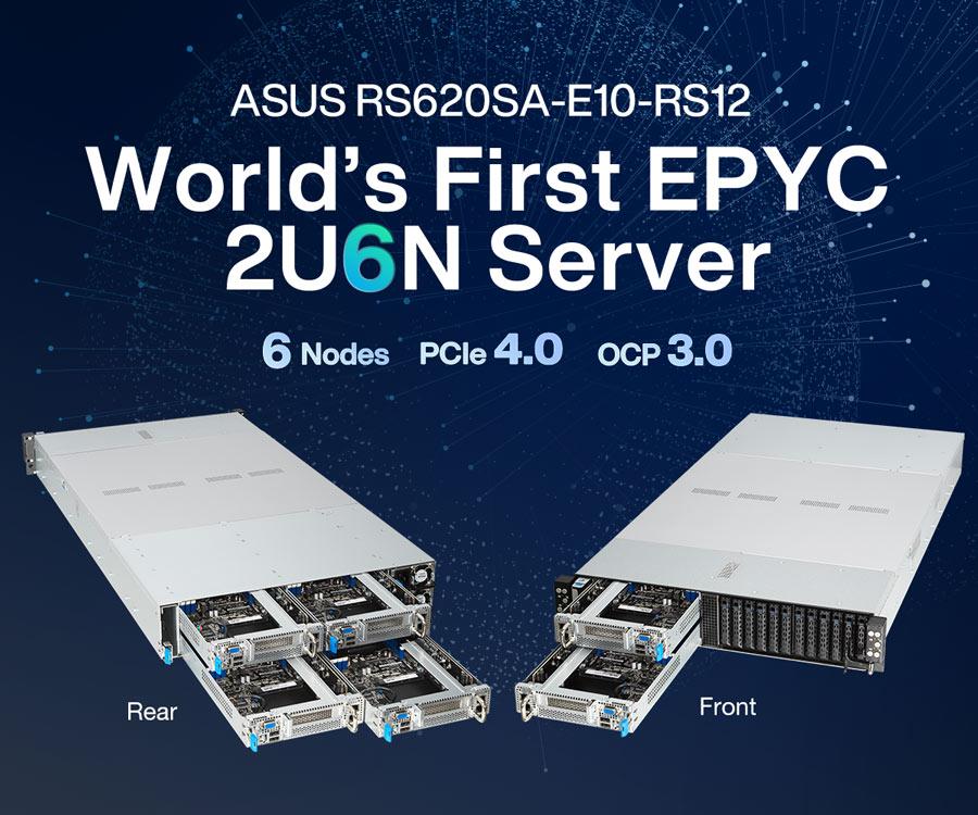 ASUS RS620SA-E10-RS12– перший у світі сервер EPYC формату 2U6N