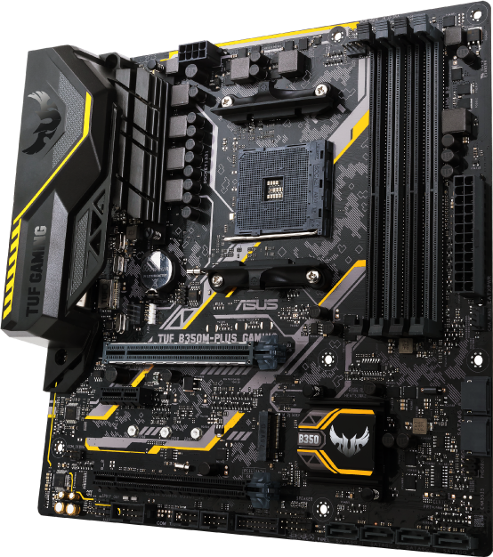 Image result for ASUS AMD Ryzen AM4 DDR4 HDMI DVI VGA M.2 USB 3.1 MicroATX B350 Motherboard (TUF B350M-PLUS GAMING)