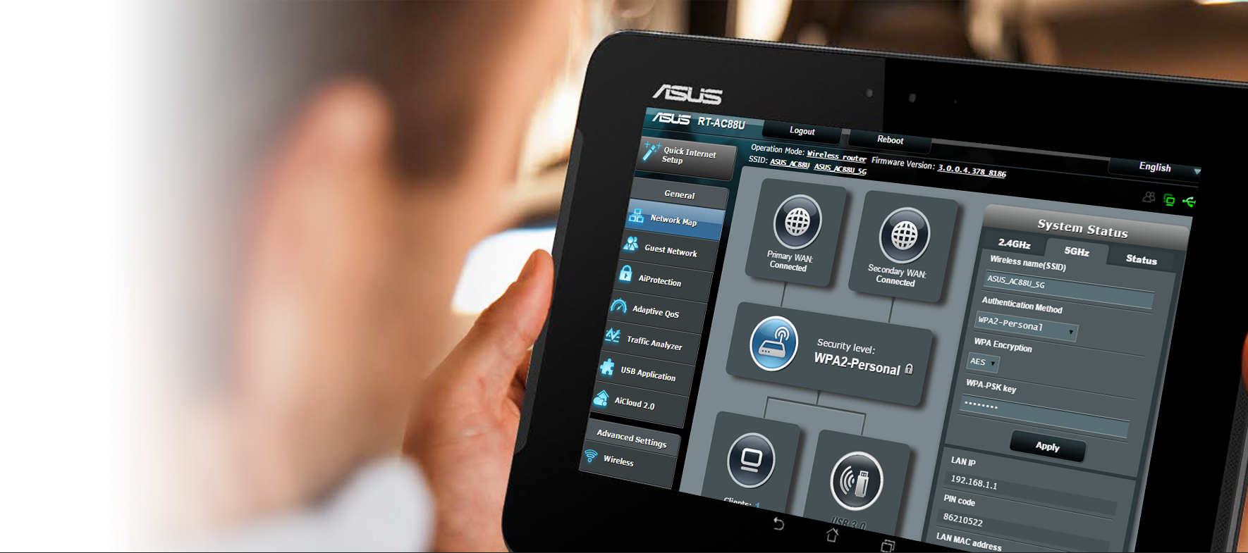 L'interface utilisateur graphique ASUSWRT propose une installation rapide et des contrôles avancés pour votre réseau.