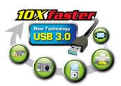 USB 3.0 transfers data 10X faster