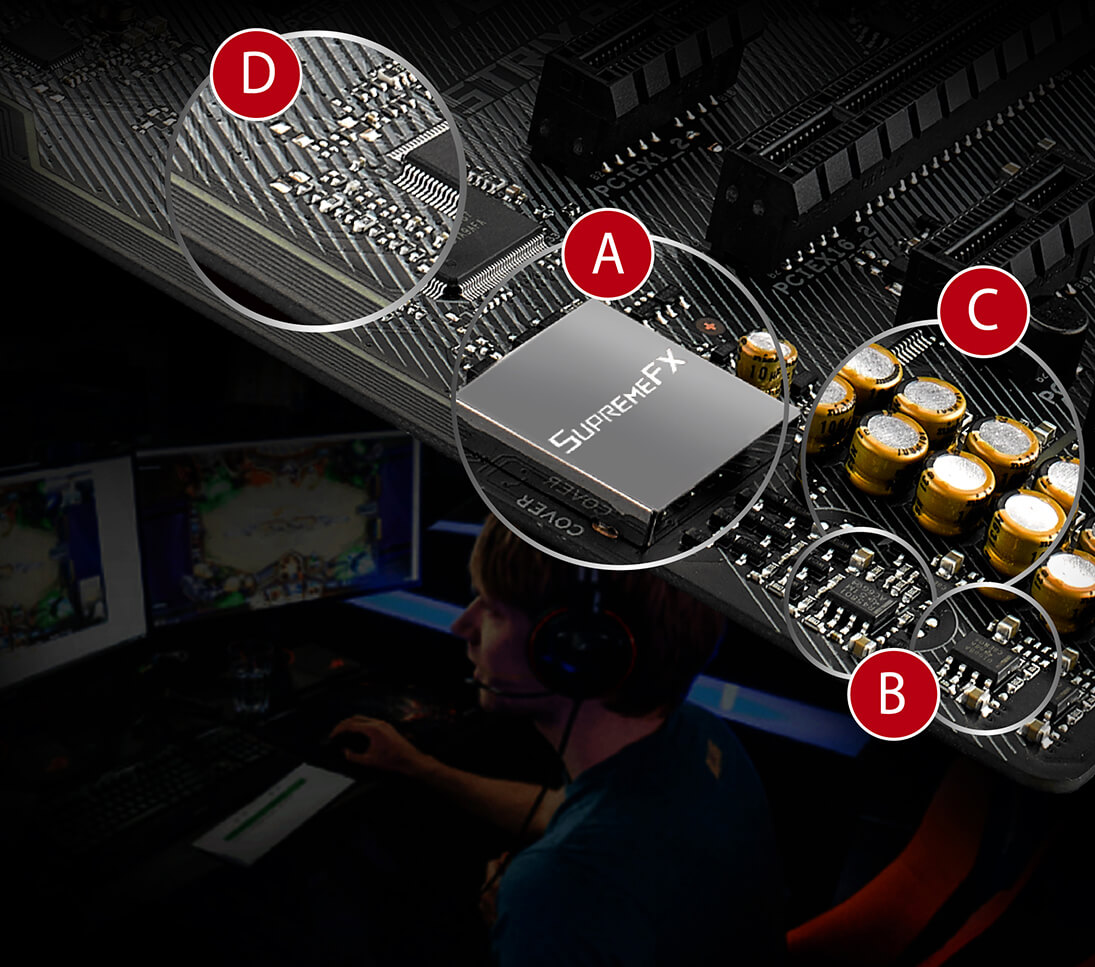 Rog Strix B250f Gaming Motherboards Asus Usa Usb Motherboard Plug Wiring Diagram On 2 0 Connection Blocks Electromagnetic Interference From The Or Add Ons To Provide Cleaner Audio