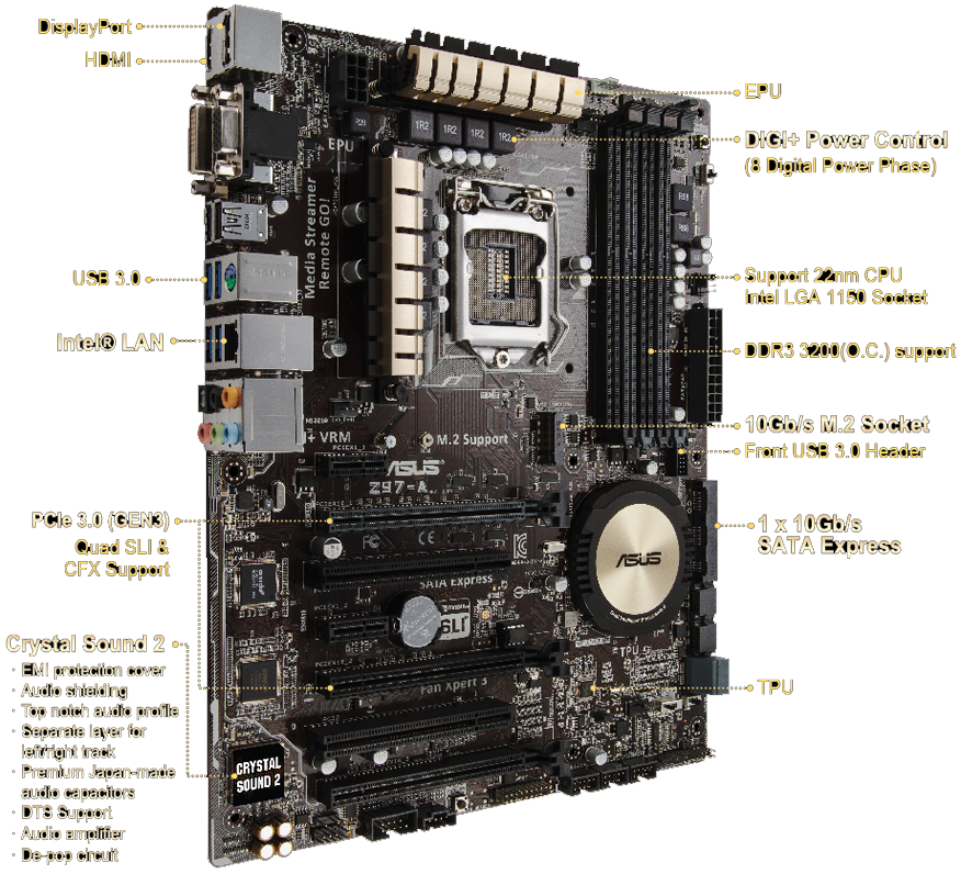 ASUS Z97KCSM LGA 1150 Intel Z97 HDMI SATA 6Gbs USB 30