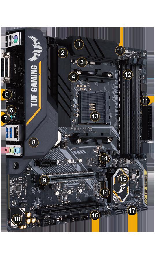 10 etapas de Potencia DrMOS AI Mic Placa Base Gaming Micro ATX AMD B450 Aura Sync RGB AM4 HDMI ASUS TUF Gaming B450M-PRO S Doble M.2 USB 3.2 Gen 2 Type-A y Type-C 2,5 GB LAN DP