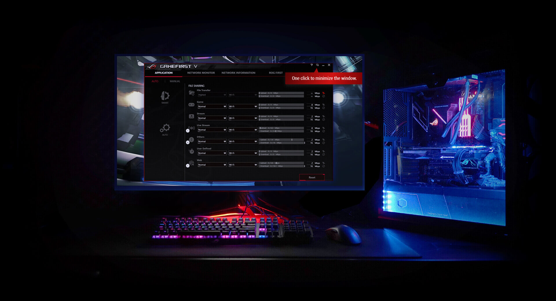 Rog Strix Z390 F Gaming Motherboards Asus Global Tuff Led Wiring A Harness View Or Adjust Network Settings During Your Game Without Interrupting Play