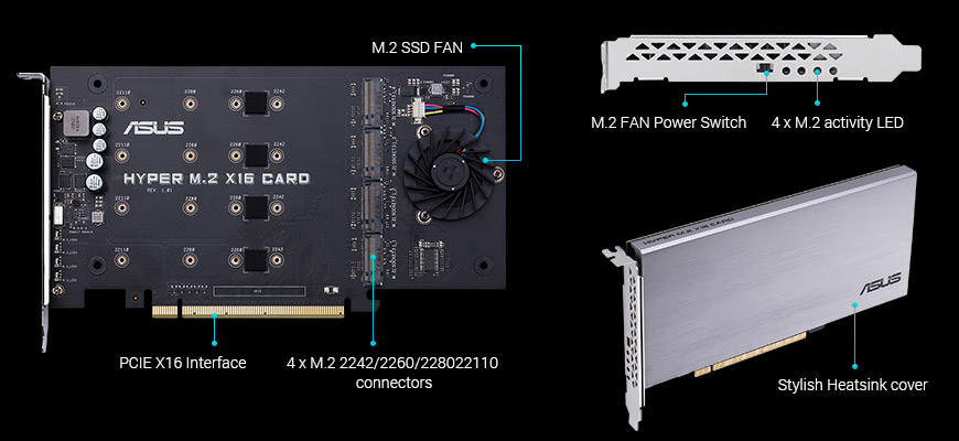 HYPER M 2 X16 CARD   Motherboard Accessories   ASUS USA