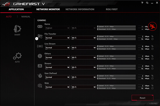 94718211e GameFirst V is the ROG-exclusive tool that optimizes network traffic for  faster, lag-free online gaming. Team your gateways, keeps tabs on  bandwidth-hogging ...