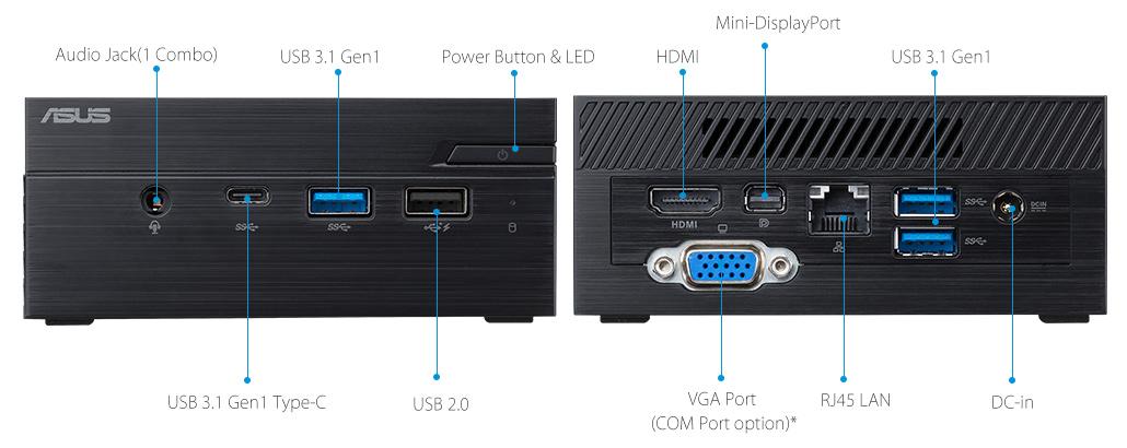 جهاز الكمبيوتر ASUSPRO PN40-Business صغير الحجم- منفذ تسلسلي hdmi- USB 3.1- وجهاز الكمبيوتر ASUSPRO PN40-Business صغير الحجم محرك الأقراص الضوئية - هوائي لاسلكي