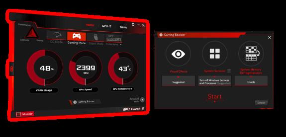 Interface utilisateur GPU Tweak II