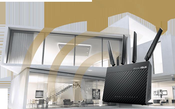 Où que vous soyez dans votre maison, le 4G-AC68U vous offre une couverture Wi-Fi imbattable !