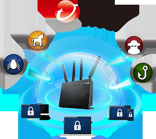 Le routeur 4G-AC68U intègre le système AiProtection qui offre une excellente connexion internet à tous les appareils de votre maison. En outre, vos appareils tels que les smartphones et tablettes qui ne sont pas toujours équipés d'anti-virus, sont mieux protégés !