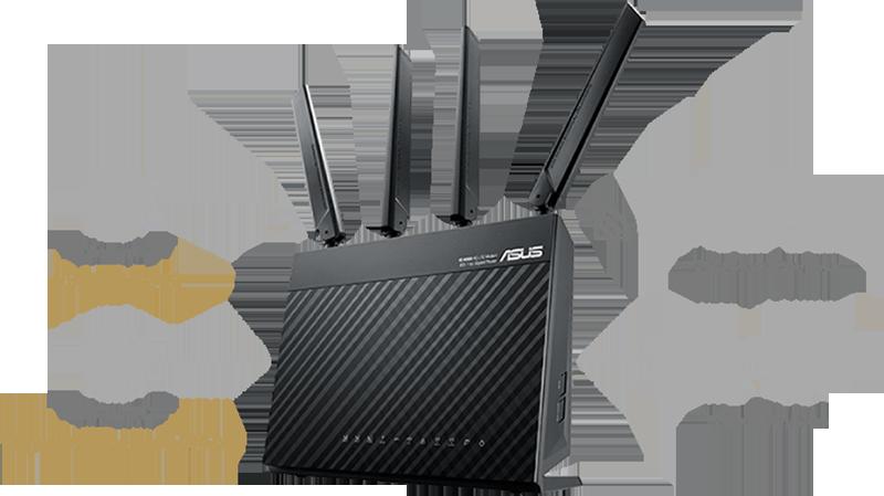 Le routeur 4G-AC68U est équipé d'un double WAN 4G LTE et Gigabit Ethernet utilisé comme connexion câblée de secours en cas de problème avec la connexion 4G LTE. Votre connexion internet est ininterrompue !