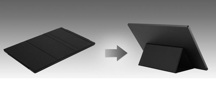 Das faltbare Smart-Case des ZenScreen MB16ACE kann in einen Standfuß verwandelt werden, um den Monitor entweder im Portrait- oder im Landschaftsmodus aufzustellen