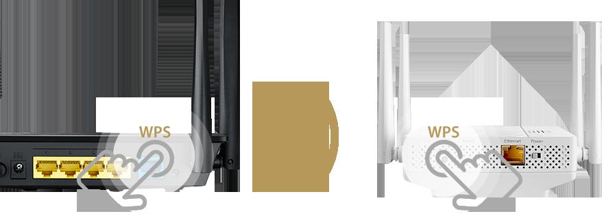 Le répéteur RP-AC87 peut être installé automatiquement, en pressant simplement le boutons WPS.