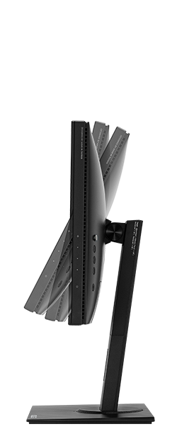 With ProArt pb247q, a comfortable viewing position is always within reach thanks to its slim profile and ergonomically-designed stand with tilt, swivel, pivot, and height adjustments.