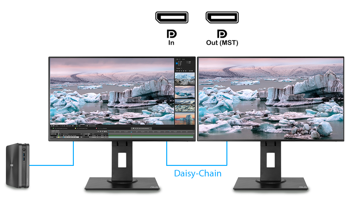 ProArt pb247q can place multiple input sources side by side onscreen and configure each individual window's color settings.