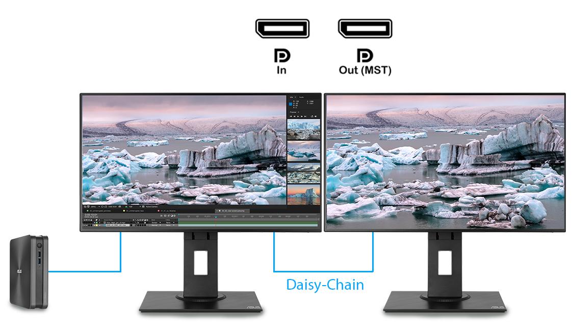 De ProArt pb247q kan meerdere ingangsbronnen naast elkaar op het scherm plaatsen en de kleurinstellingen van elk afzonderlijk venster configureren.