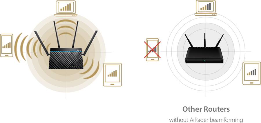 ASUS RT-ACRH17 features AiRadar Beamforming, which gives extensive coverage and ensures stablility of internet connection.
