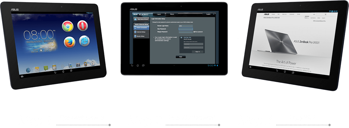ASUS RT-ACRH17 features easy 3-step setup, Step 1: Open web browser, Step 2: Enter ID/Password, and it is done!
