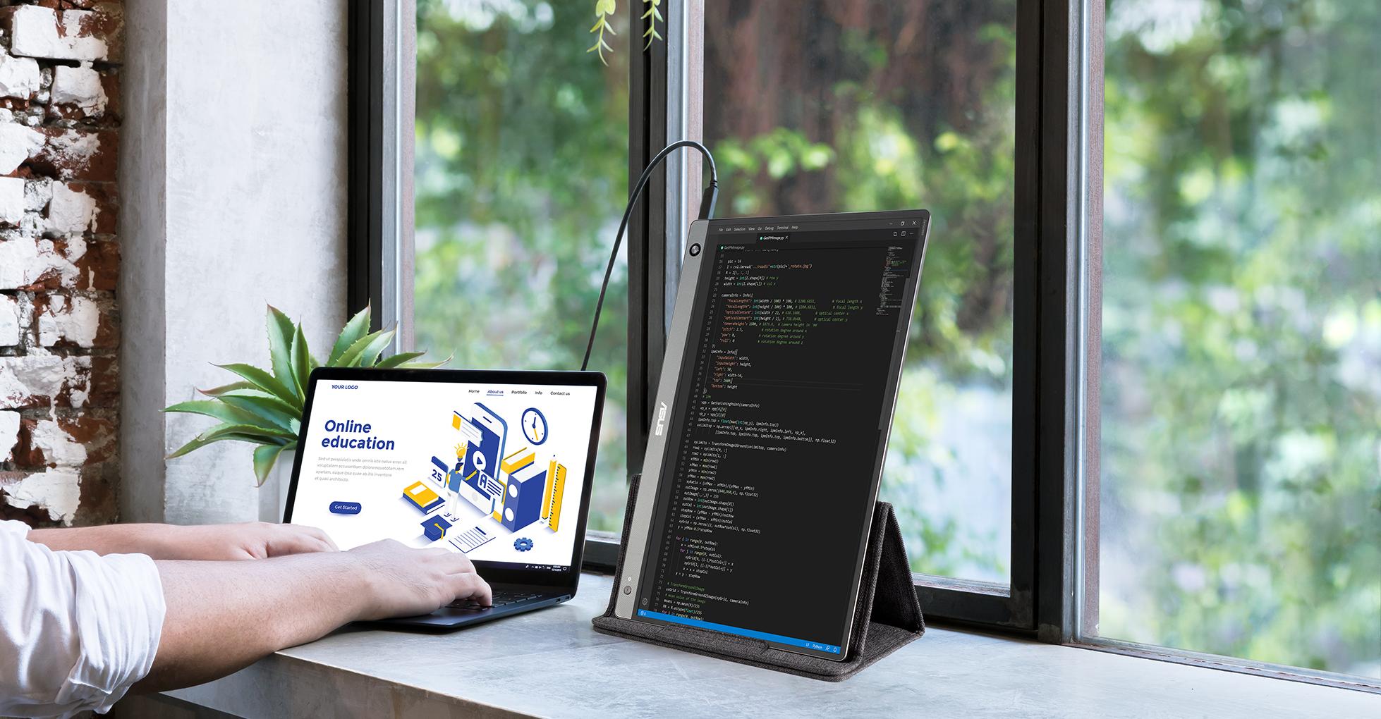 ZenScreen MB16AH erkennt die Bildschirm-Ausrichtung automatisch und wechselt zwischen Hoch- und Querformat