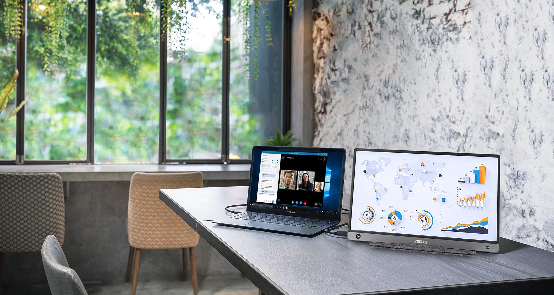 Der ZenScreen MB16AH nutzt die IPS-Technologie, um Ihnen mehr Flexibilität beim Erweitern Ihres Bildschirms zu geben