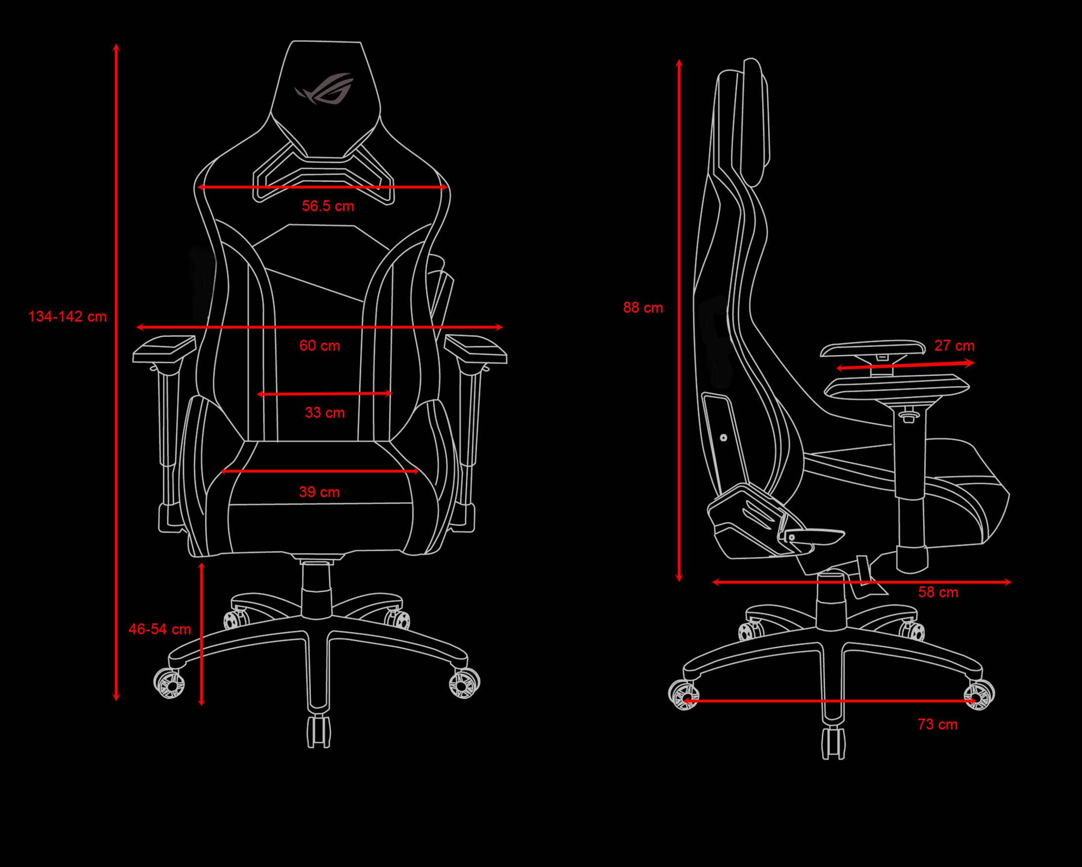Chi tiết kích thước Ghế chơi game ASUS ROG Chariot RGB
