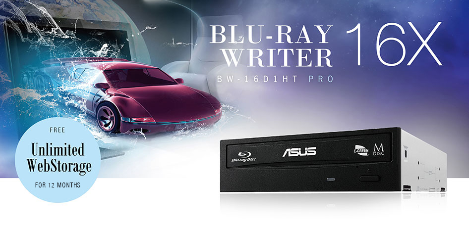 ASUS BW-16D1HT PRO - ultra-fast 16X Blu-ray burner with M-DISC